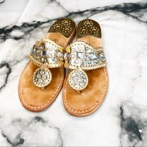 Jack Rogers Gold Rhinestone Leather Sandals